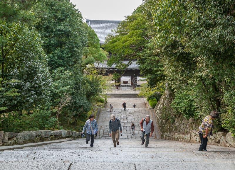 KYOTO, JAPON - 9 OCTOBRE 2015 : Escaliers à Chion-dans le tombeau, temple dans Higashiyama-ku, Kyoto, Japon Sièges sociaux du Jod photographie stock