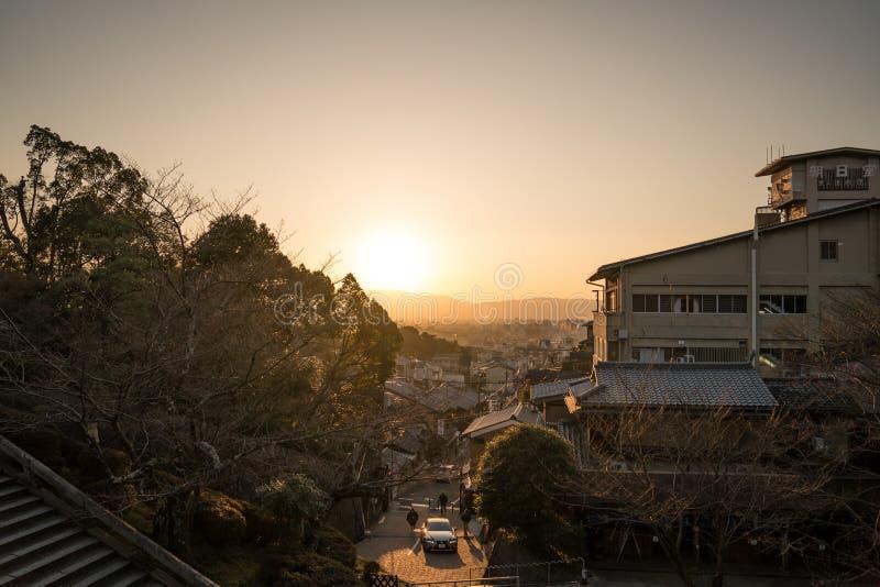 Kyoto, Japonia - 2 Mar 2018: Zmierzchu widok od Kiyomizu-dera świątyni na 2 Mar 2018, Kyoto, Japonia obraz royalty free