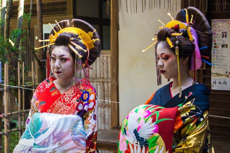 KYOTO JAPONIA, PAŹDZIERNIK, - 12, 2015: Maiko, aplikant gejsza obraz stock