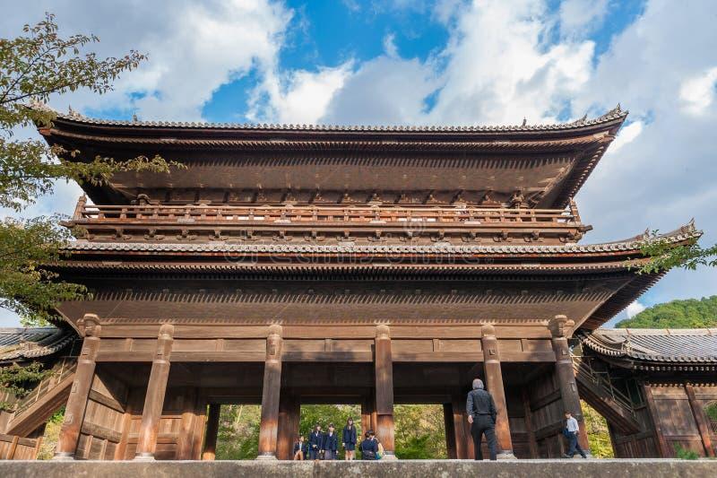 KYOTO JAPONIA, PAŹDZIERNIK, - 08, 2015: Nanzen-ji, Zuiryusan Nanzen-ji Zenrin-ji, poprzedni buddyjski Japan Kyoto świątyni zen ce zdjęcie stock
