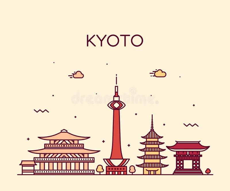 Kyoto linia horyzontu, Japonia wektorowy liniowy stylowy miasto ilustracji