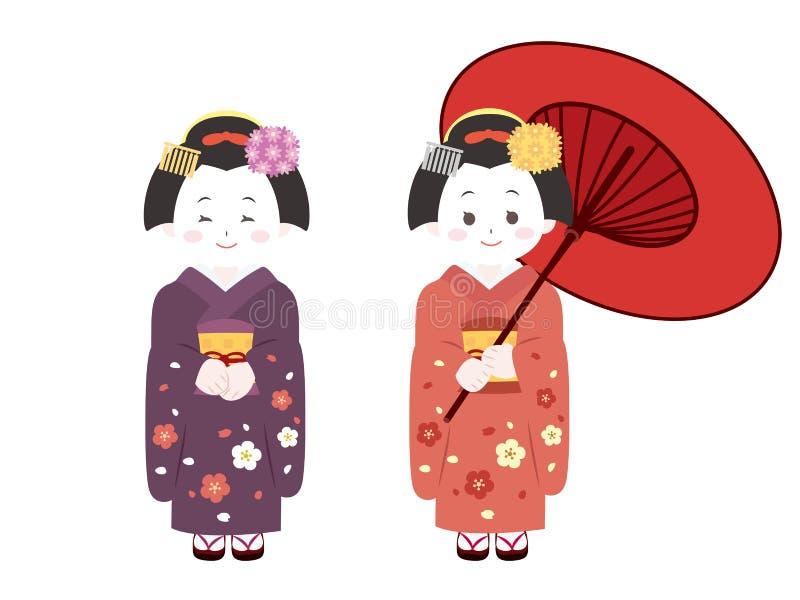 Kyoto Maiko1 stock de ilustración