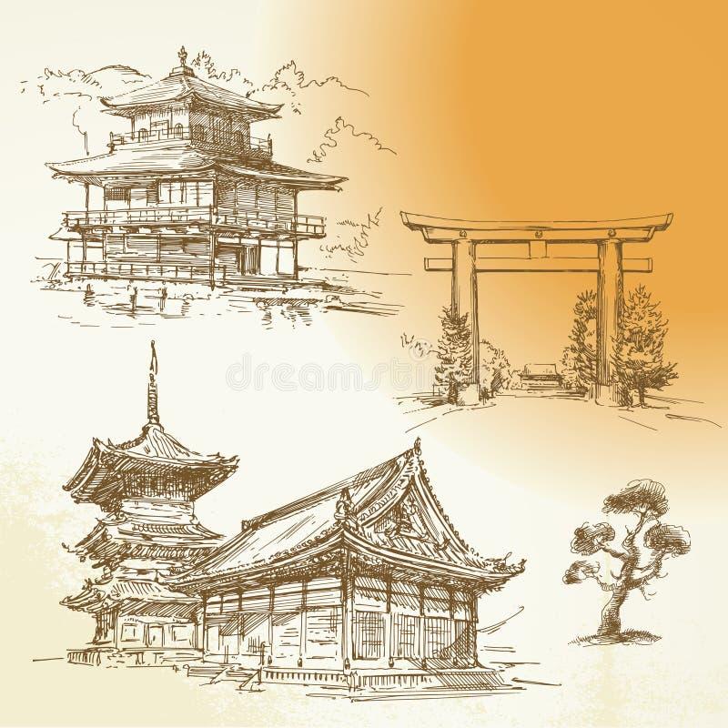 Kyoto, Nara, herencia japonesa stock de ilustración