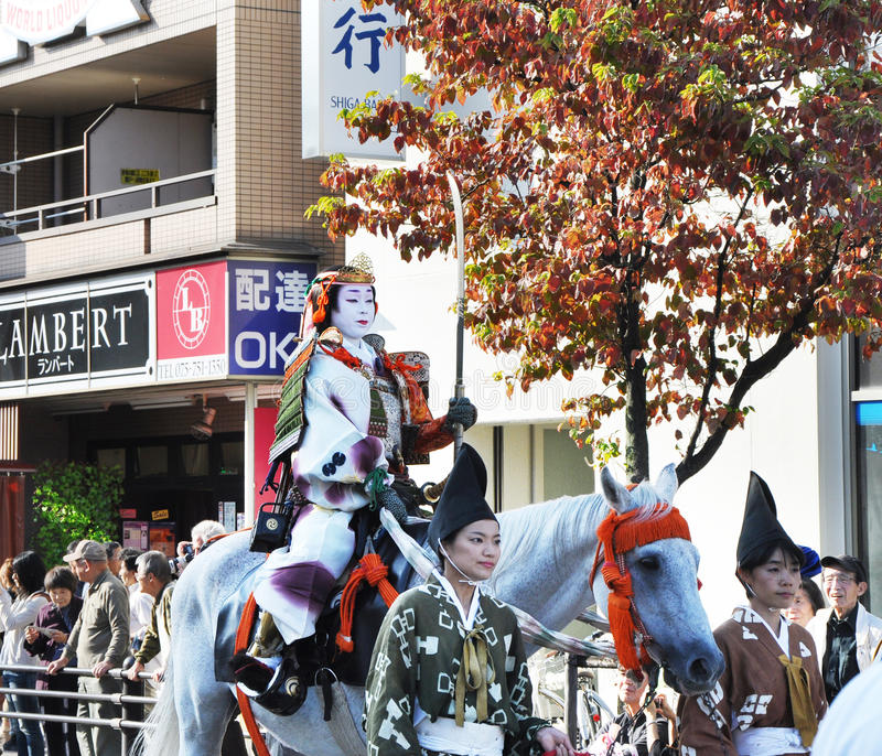KYOTO - OCT 22: Deelnemers in Jidai Matsuri royalty-vrije stock fotografie