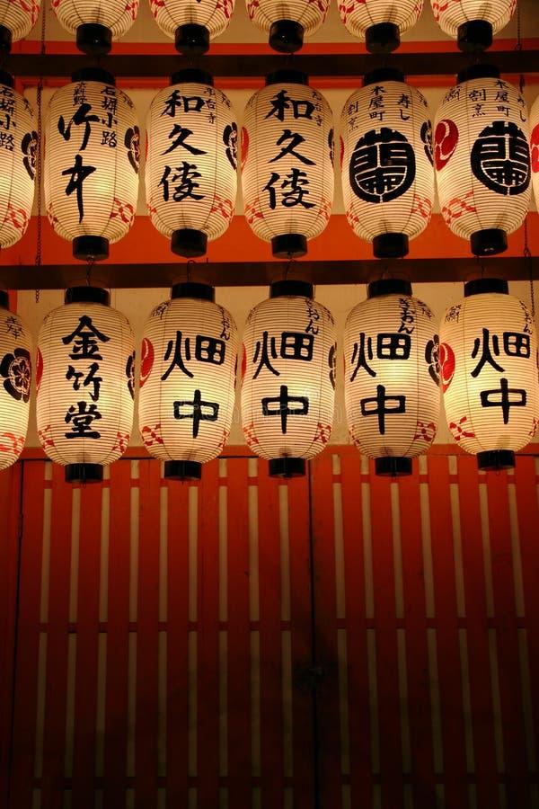 Kyoto-Schrein-Laternen lizenzfreies stockbild