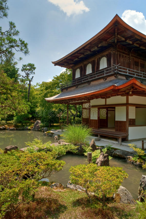 Kyoto silver Temple Gardens royalty free stock image