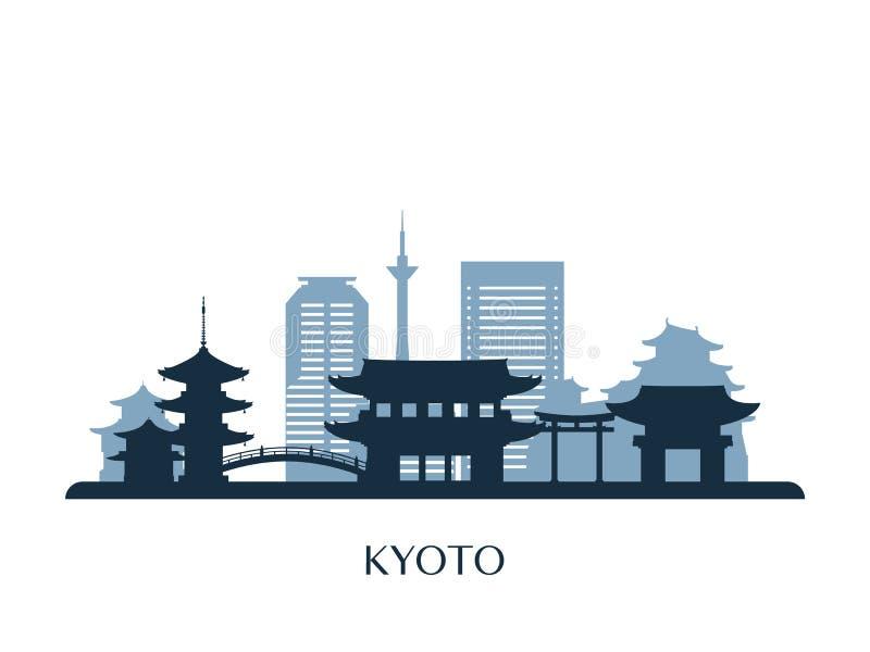 Kyoto-Skyline, einfarbiges Schattenbild lizenzfreie abbildung