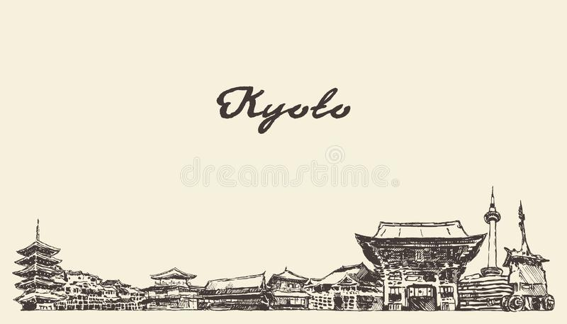 Kyoto-Skyline, gezogene Skizze der Japan-Vektorstadt vektor abbildung