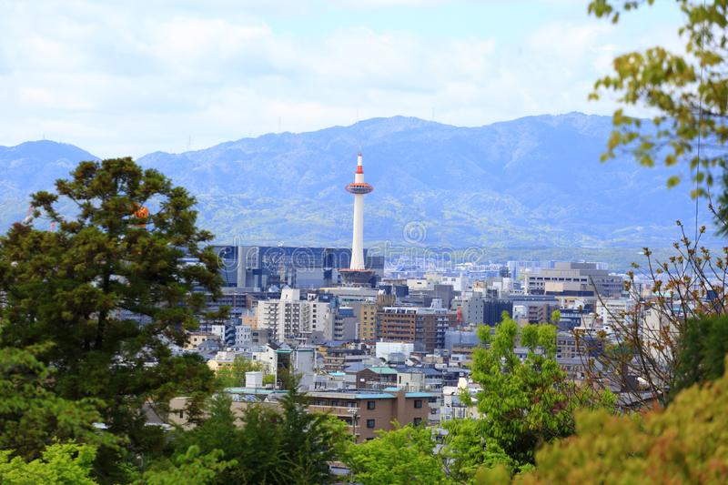 Kyoto skyline and Kyoto Tower royalty free stock photo