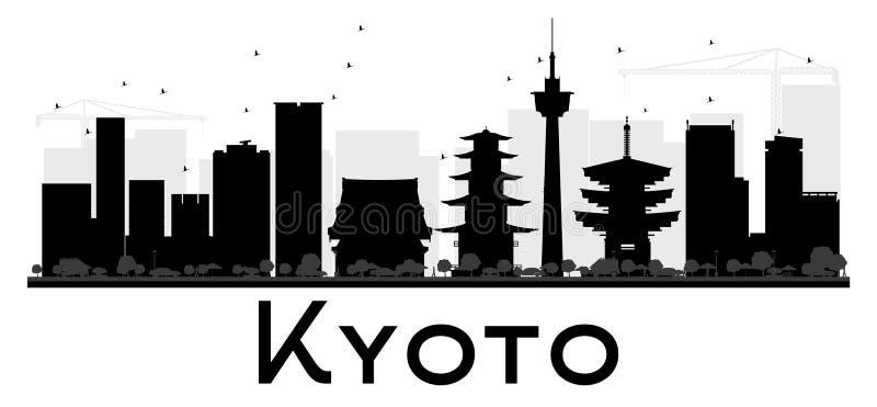 Kyoto-Stadtskyline-Schwarzweiss-Schattenbild lizenzfreie abbildung