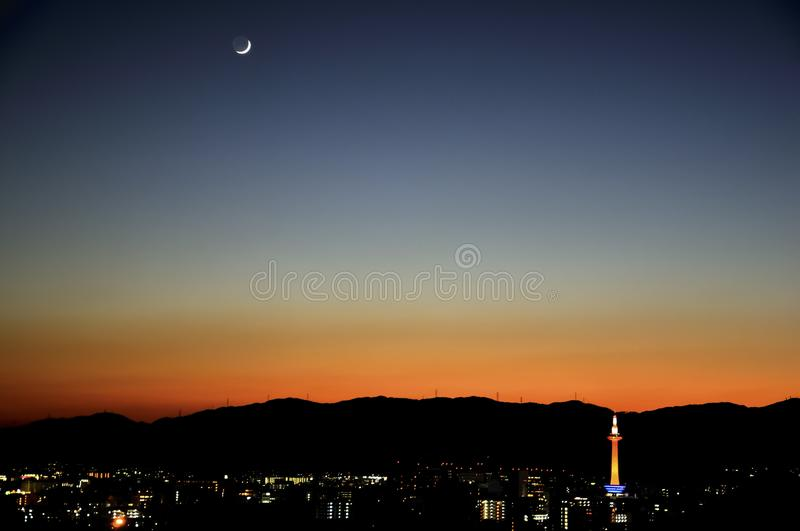 Kyoto sunset and moon stock photography