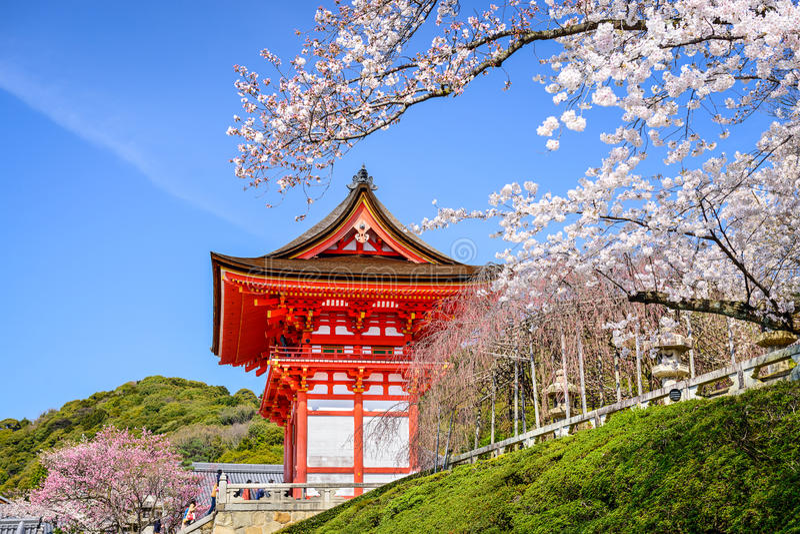 Kyoto tempel på våren arkivbilder