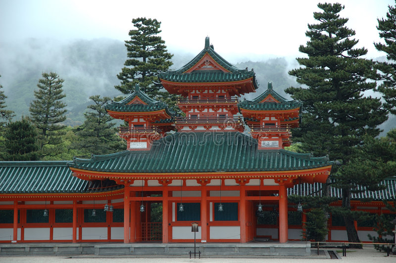 Kyoto temple in mist stock image