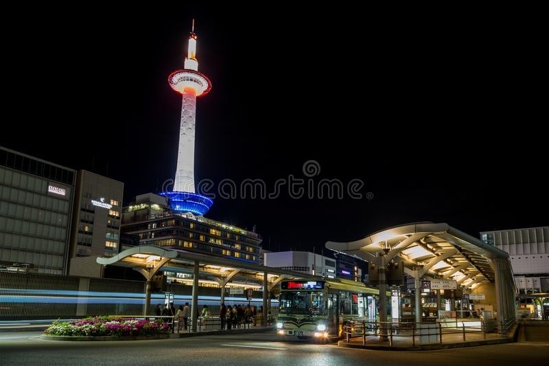 Kyoto bus station and illuminated Tower, Japan royalty free stock photos