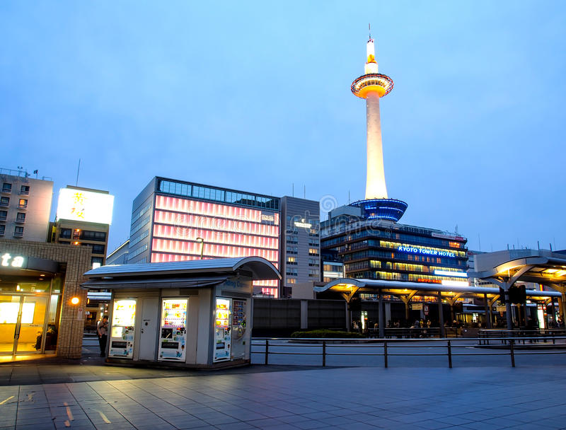 Kyoto tower with dusk sky, Kyoto, Japan 1 stock photos