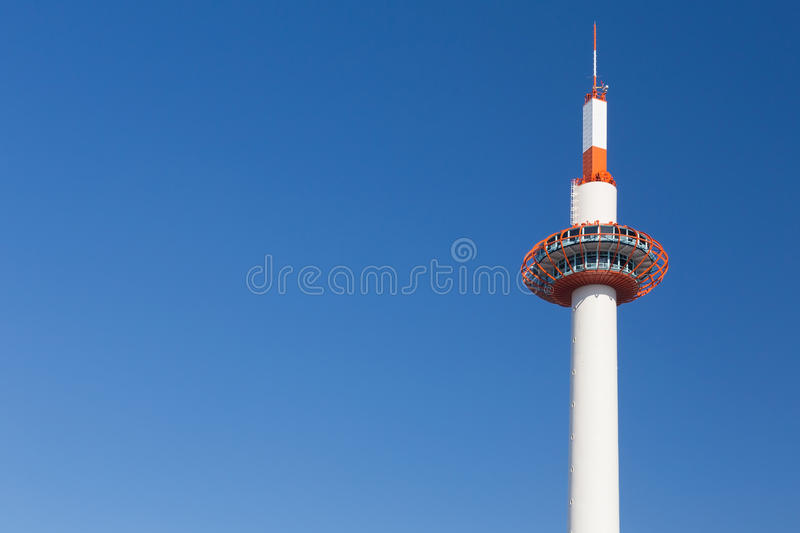 Kyoto tower, Japan, with clear blue sky stock photography