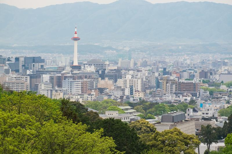 Kyoto Tower from Kiyomizu-dera temple, Kyoto, Japan stock image