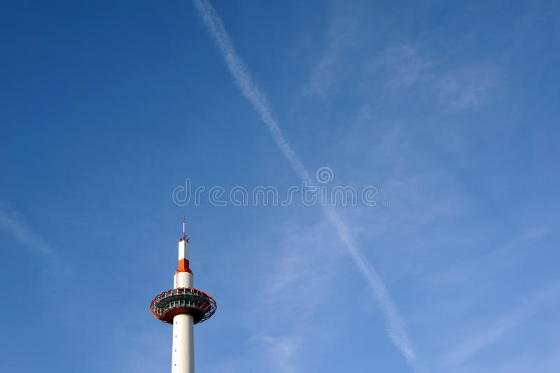 Kyoto tower under blue sky royalty free stock images