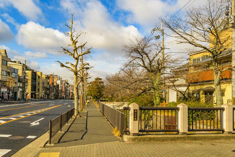 Kyoto Urban Scene, Japan. KYOTO, JAPAN, JANUARY - 2019 - Urban winter scene at modern zone of kyoto city, japan royalty free stock photos
