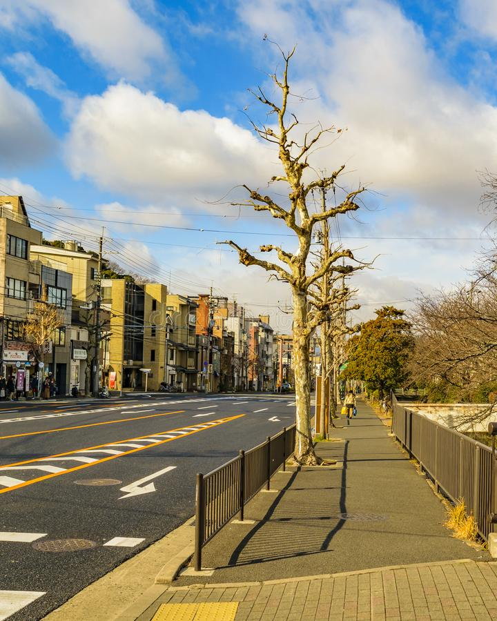 Kyoto Urban Scene, Japan. KYOTO, JAPAN, JANUARY - 2019 - Urban winter scene at modern zone of kyoto city, japan stock photos
