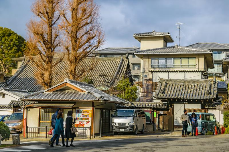 Kyoto Urban Scene, Japan. KYOTO, JAPAN, JANUARY - 2019 - Urban winter scene at traditional zone of kyoto city, japan royalty free stock image