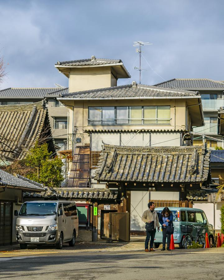 Kyoto Urban Scene, Japan. KYOTO, JAPAN, JANUARY - 2019 - Urban winter scene at traditional zone of kyoto city, japan royalty free stock photo