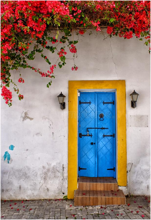 Doorway in spring. Colours, flowers, flowersofspring, colourofspring, paint, peelingpaint, architecture, architecturalfeature, old, entrance, nopeople, cyprus royalty free stock photography