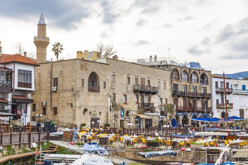 Kyrenia Girne stary schronienie, Północny Cypr zdjęcie stock