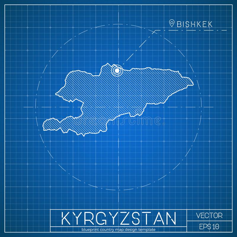 kyrgyzstan blueprint map template with capital stock vector