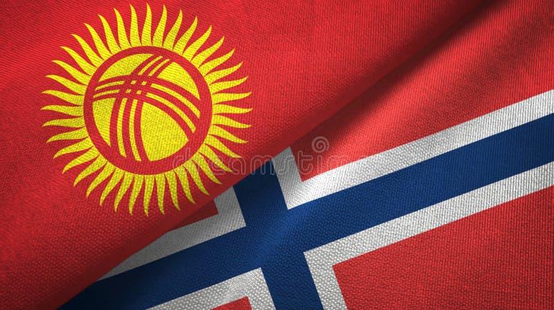 Kyrgyzstan en Noorwegen twee vlaggen textieldoek, stoffentextuur vector illustratie