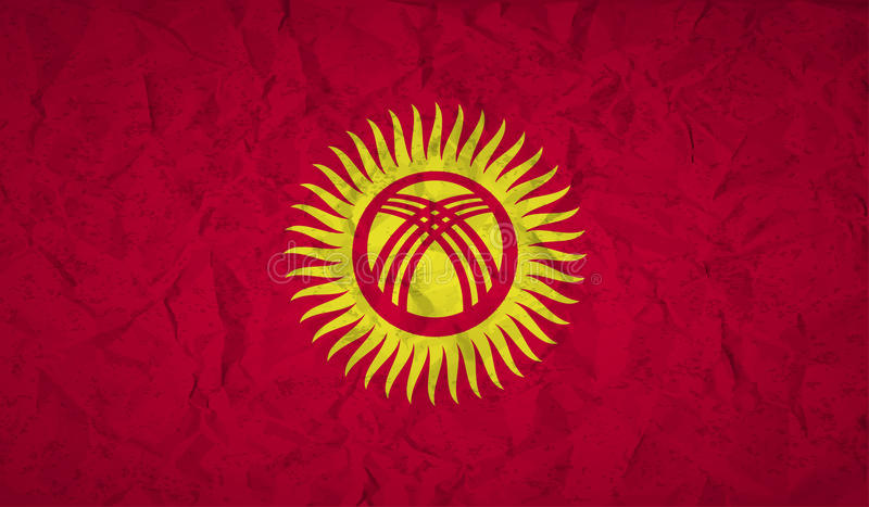 Kyrgyzstan flag with the effect of crumpled paper and grunge vector illustration