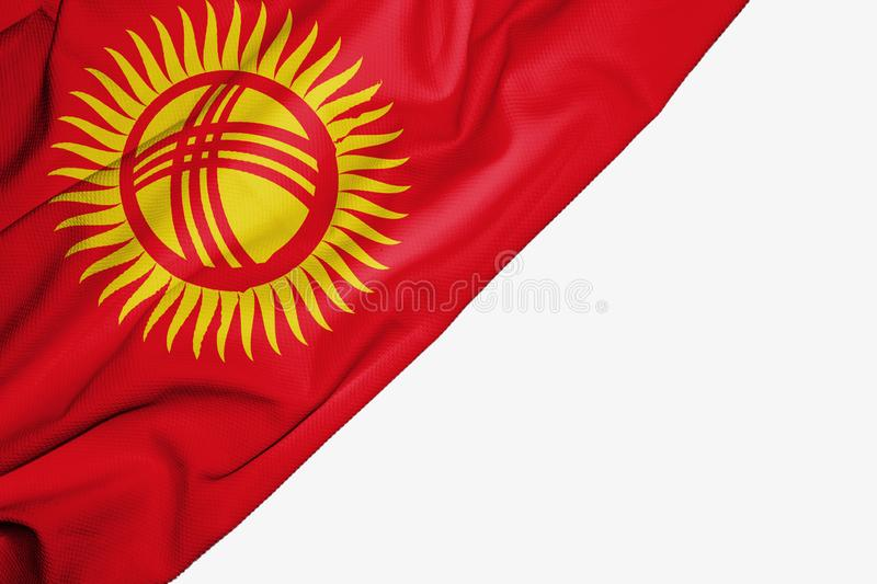 Kyrgyzstan flag of fabric with copyspace for your text on white background. Asia asian banner best capital colorful competition country ensign free freedom vector illustration