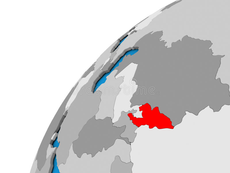 Kyrgyzstan on globe in red. Kyrgyzstan highlighted in red on globe with visible country borders. 3D illustration stock illustration