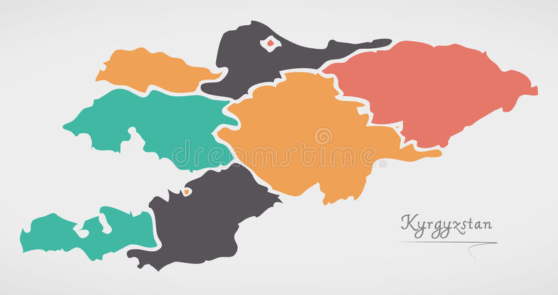 Kyrgyzstan Map with states and modern round shapes. Illustration vector illustration