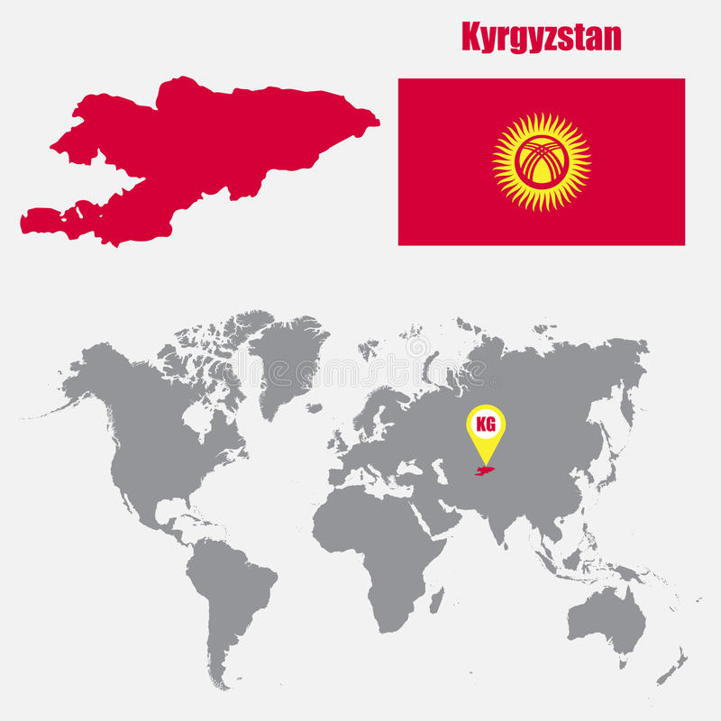 kyrgyzstan map on a world map with flag and map pointer vector illustration