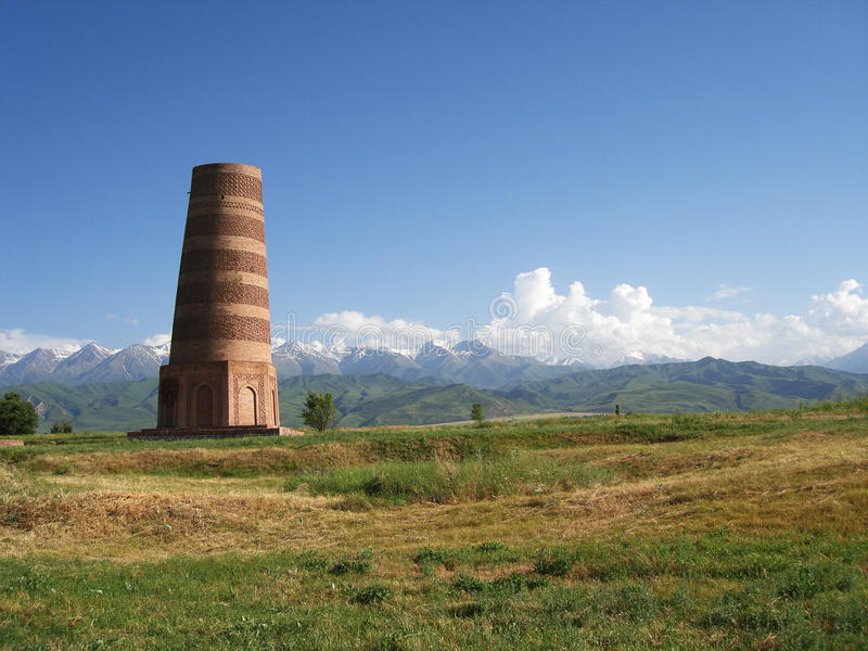 KYRGYZSTAN MOUNTAINS AND BURANA TOWER stock photography