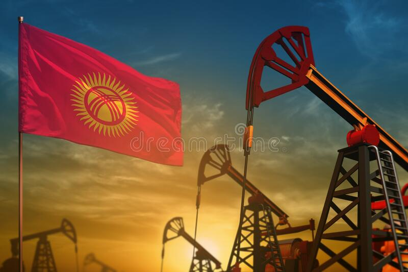 Kyrgyzstan oil industry concept. Industrial illustration - Kyrgyzstan flag and oil wells against the blue and yellow sunset sky. Kyrgyzstan oil industry concept royalty free stock images