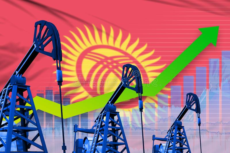 Growing graph on Kyrgyzstan flag background - industrial illustration of Kyrgyzstan oil industry or market concept. 3D royalty free stock photo