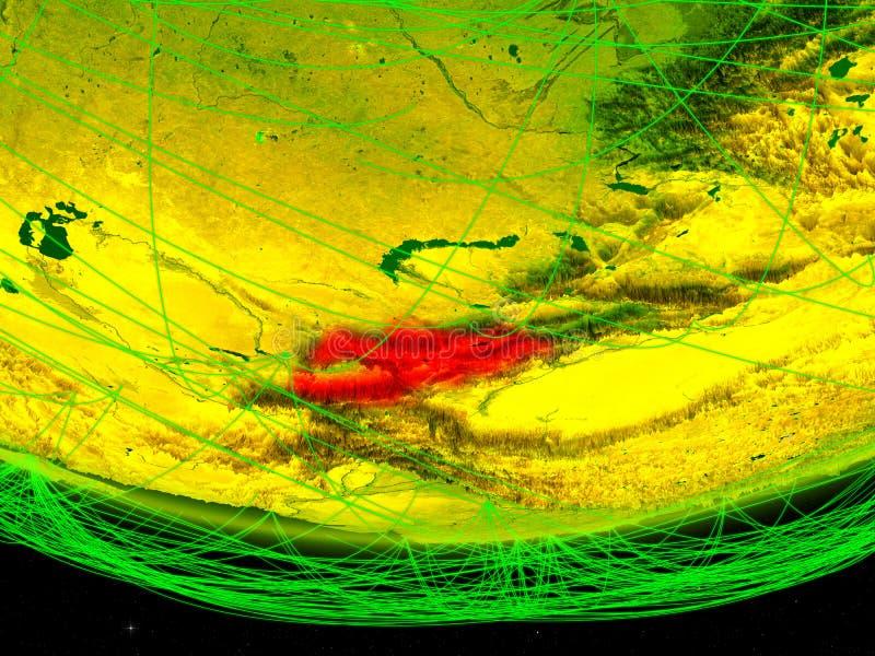 Kyrgyzstan op groen model van aarde met netwerk die digitaal tijdperk, reis en mededeling vertegenwoordigen 3D Illustratie stock afbeeldingen