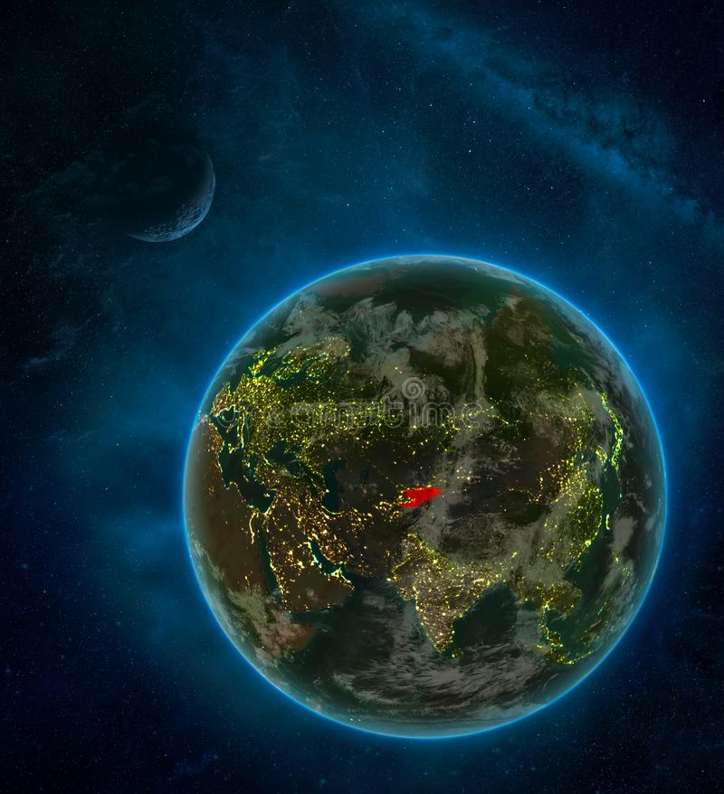 Kyrgyzstan from space on Earth at night surrounded by space with Moon and Milky Way. Detailed planet with city lights and clouds. 3D illustration. Elements of stock illustration