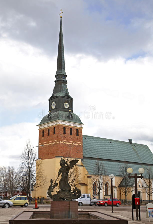 Kyrka av ärkeängeln Michael i Mora sweden royaltyfria foton