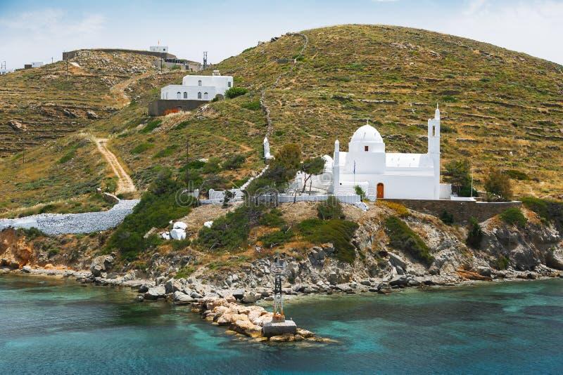 Kyrka av Agia Irini Saint Irene, Ios, Cyclades öar, Grekland royaltyfri bild