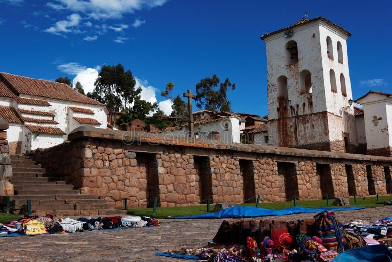 Kyrka av Chinchero i Cuzco område i Peru arkivbild