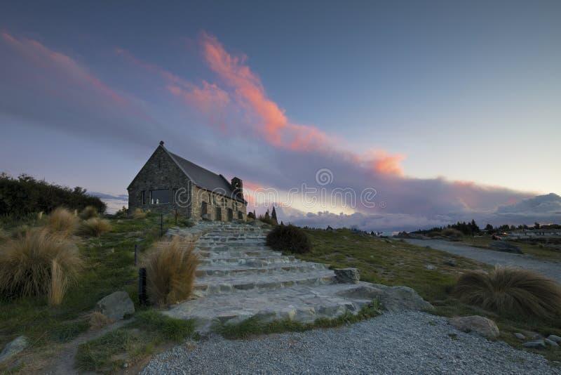 Kyrka av den bra herden, sjö Tekapo, Nya Zeeland royaltyfria foton