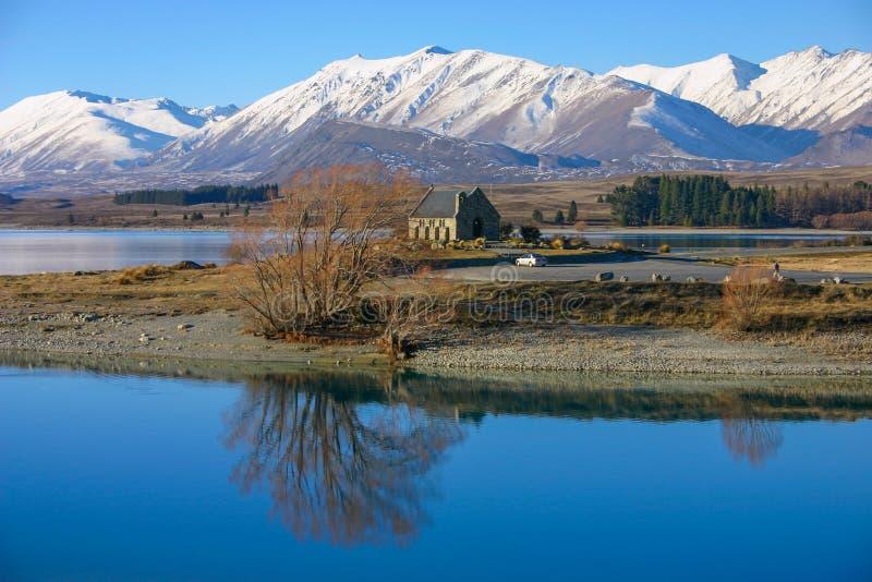Kyrka av den bra Sheparden, Tekapo Nya Zeeland royaltyfria foton