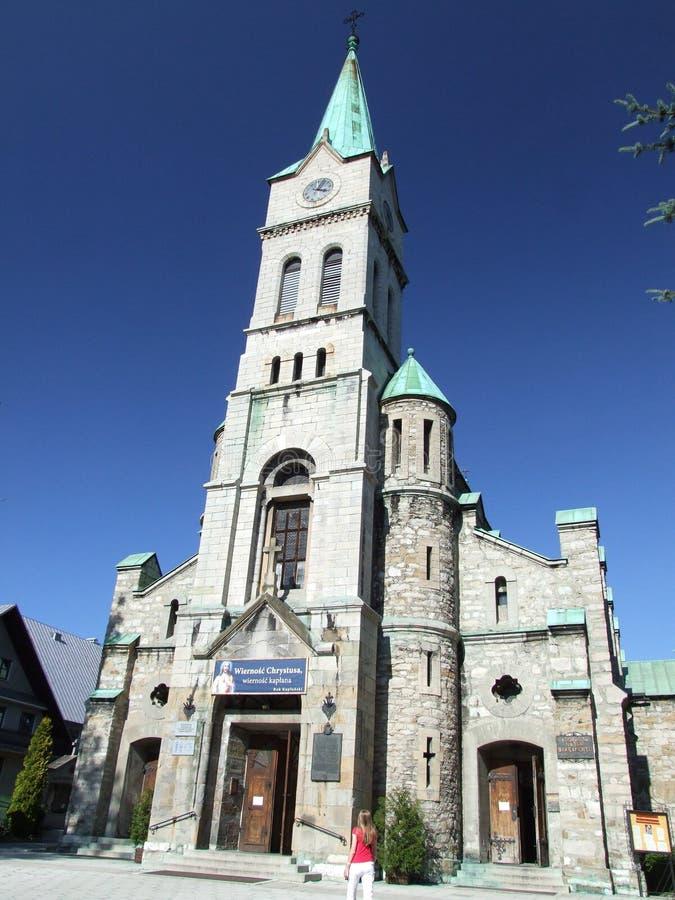 Kyrka av den heliga familjen i Zakopane i Polen arkivbilder