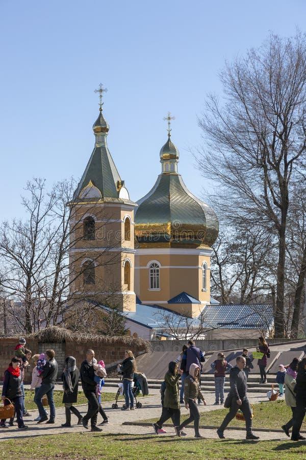 Kyrka av den heliga Tikhvin kloster i staden av Dnepr arkivbilder