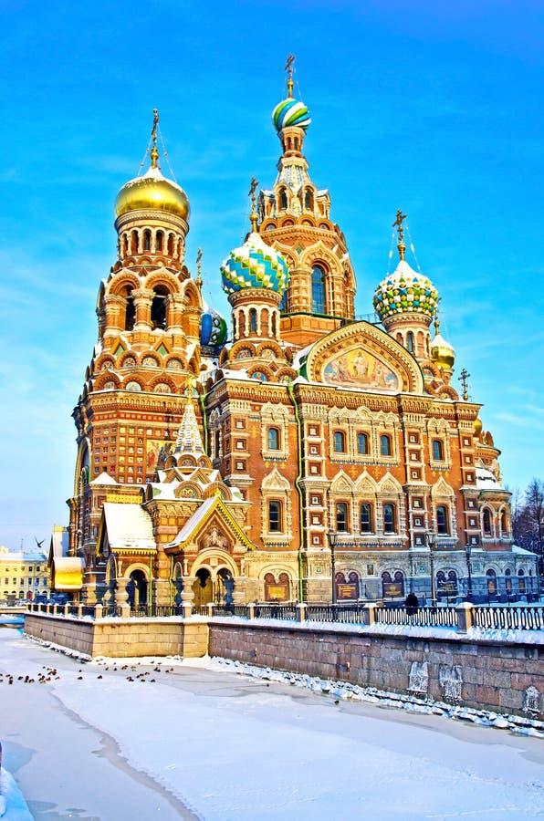 Kyrka av frälsaren på spillt blod i St Petersburg, Ryssland arkivbilder