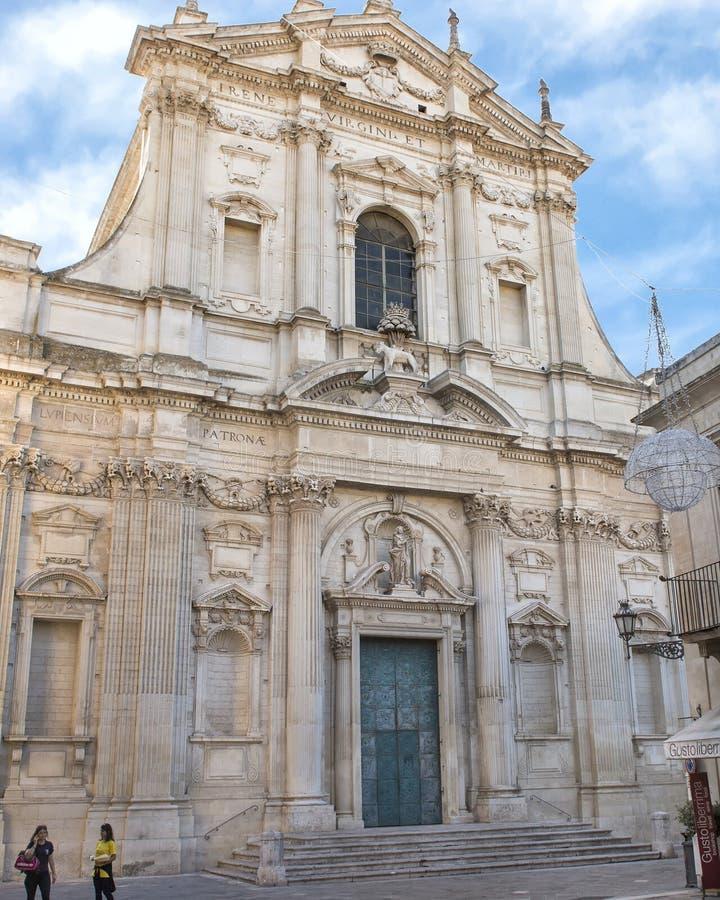 Kyrka av helgonet Irene, Lecce Italien royaltyfri bild