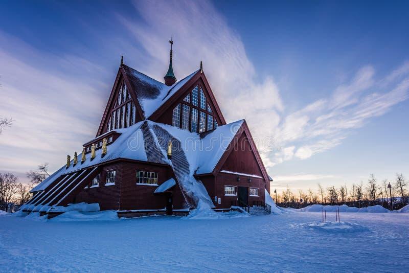 Kyrka av Kiruna, Sverige royaltyfri foto